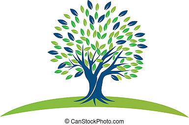 blå grønnes, træ, det leafs, logo
