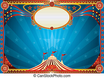 blå, horisontale, cirkus, baggrund