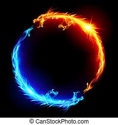 blå, ild, rød, drager