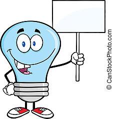 blå lyse, blank, pære, tegn