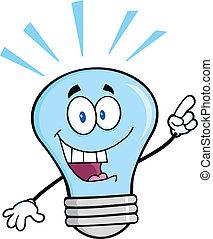 blå lyse, lys ide, pære