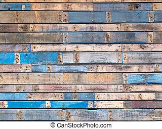 blå, mal, sidespor, træ, exterior, grungy, planker