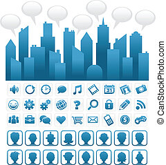 blå, medier, sociale, byen
