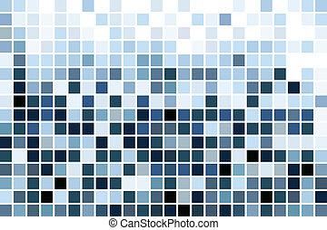 blå, mosaik, tapet