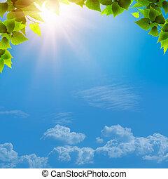 blå, naturlig, abstrakt, baggrunde, konstruktion, under, skies., din
