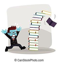 blå, panicked, because, forretningsmand, fald, bog