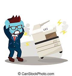 blå, panicked, fotokopi maskine, brudt, because, forretningsmand, har