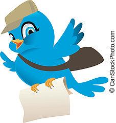 blå, post, fugl