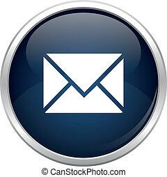 blå, post, ikon
