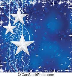 blå, prikker, stjerner, occasions., vinter, transparencies., lys, festlige, linjer, sne, /, jul, bølgede, flager, nej, baggrund, din
