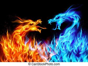 blå, rød, ild, drager