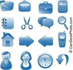 blå, sæt, iconerne