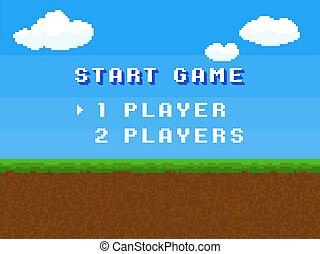 blå skærm, komisk, eng, landskab, computer, himmel, sommer, skyer, stylized, digitale, firkantet, game., start, breve, pixel, kontrol, retro, menu, begreb, 8, vektor, tekst, smule, gameplay, baggrund, 80s.