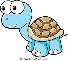 blå, skildpadde, vektor, dumme, dyr