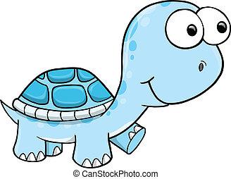 blå, skildpadde, vektor, dumme