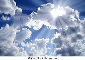 blå, skyer, bjælker, himmel lyse, hvid