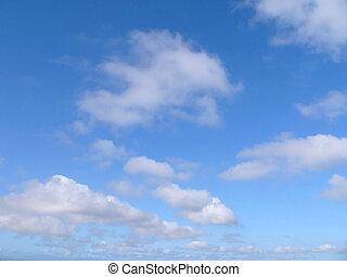 blå, skyer, himmel
