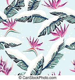 blå, snedækkede, blade, banan, tropisk, komposition