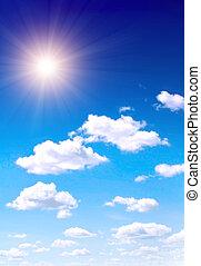 blå, sol, himmel