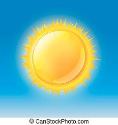 blå, sol, himmel, blanke