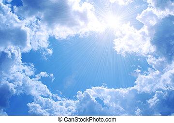 blå, sol, lys himmel