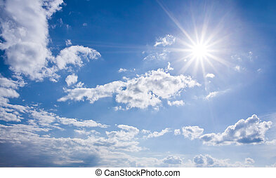 blå, solfyldt, himmel