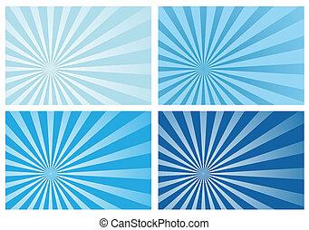 blå, stråle, sol brast, lys