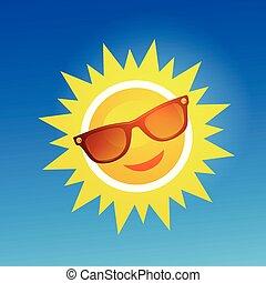 blå, sunglasses, sol, muntre, baggrund., smil, cartoon