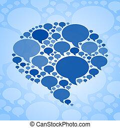 blå, symbol, boble, baggrund, snakke