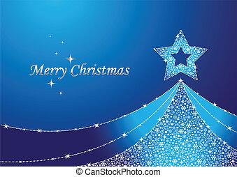 blå, træ, jul