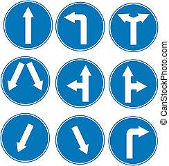 blå underskriv, retning, trafik