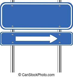 blå underskriv, trafik, pil, blank, hvid