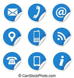 blå, væv ikoner, etiketter, kontakt