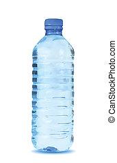 blå vand, baggrund., vektor, flaske, hvid