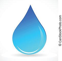 blå vand, nedgang, vektor, logo