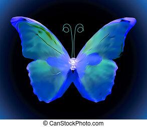 blå, vektor, butterfly.