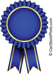 blå, vektor, emblem, bånd