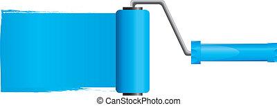 blå, vektor, illustration, maling, afdelingen, børste, maling, 2, rulle