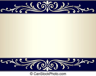 blå, vinhøst, scroll, beige baggrund, sølv