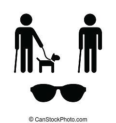 blænde, sæt, iconerne, -, hund, guide, mand