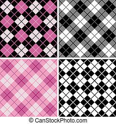 black-pink, argyle-plaid, mønster