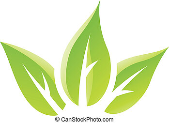 blade, grønne, blanke, ikon