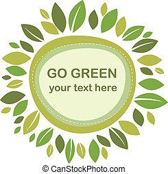 blade, grønne, ramme