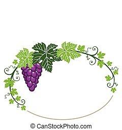 blade, ramme, hvide druer