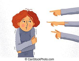 blaming, opførsel, grusomme, unge, hånd, kvinde, følelse, shaming, vektor, begreb, pige, forskrækket, groups., finger, intolerant, ubekvemme, discrimination, problem, sociale, pege