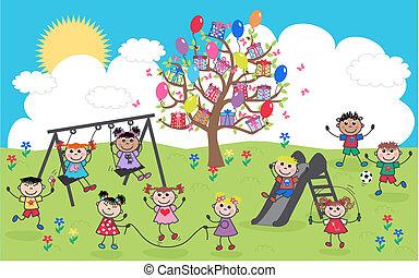 blandede etniske, børn, glade
