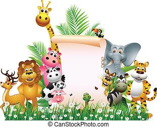 blank, cartoon, dyr, tegn