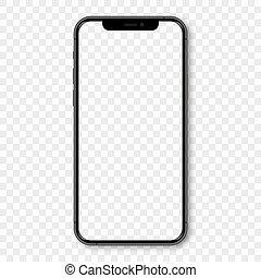 blank, iphone, mockup, sort, skygge, skærm