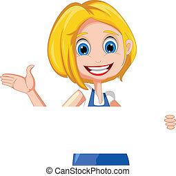 blank, kvinde, cartoon, holde, tegn