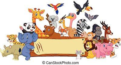 blank underskriv, dyr, cartoon